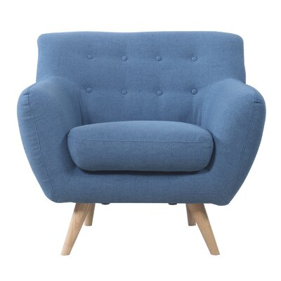 Mid-Century Modern Tufted Armchair Upholstery: Blue