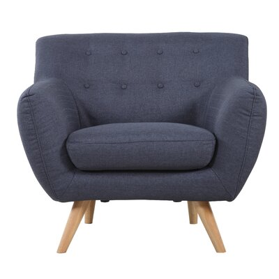 Mid-Century Modern Tufted Arm Chair Upholstery: Polo Blue