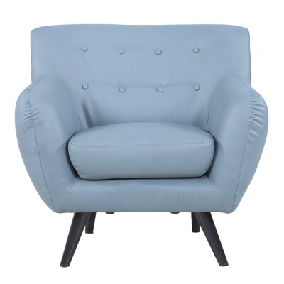Mid Century Modern Tufted Bonded Leather Armchair Color: Grey
