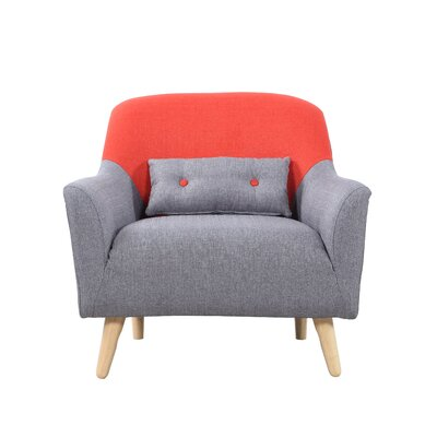 Mid Century Modern Style Two Tone Linen Fabric Armchair Upholstery: Orange