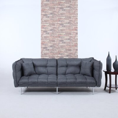 Modern Plush Tufted Linen Splitback Living Room Sleeper Sofa Upholstery Color: Dark Gray