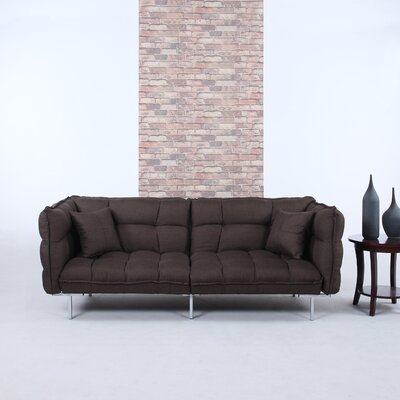 Modern Plush Tufted Linen Splitback Living Room Sleeper Sofa Upholstery Color: Brown