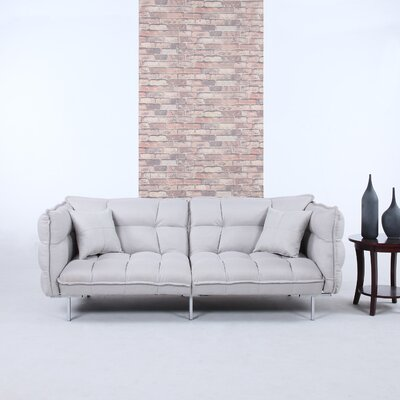 Modern Plush Tufted Linen Splitback Living Room Sleeper Sofa Upholstery Color: Light Gray