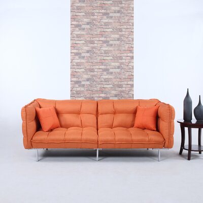 Modern Plush Tufted Linen Splitback Living Room Sleeper Sofa Upholstery Color: Orange