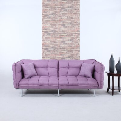 Modern Plush Tufted Linen Splitback Living Room Sleeper Sofa Upholstery Color: Purple