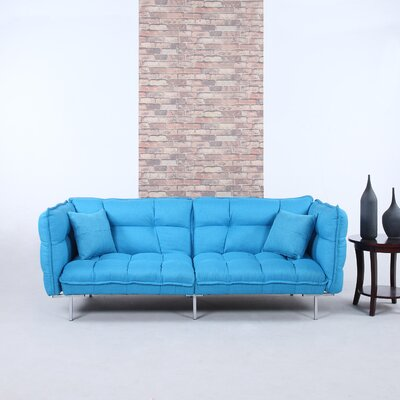 Modern Plush Tufted Linen Splitback Living Room Sleeper Sofa Upholstery Color: Sky Blue