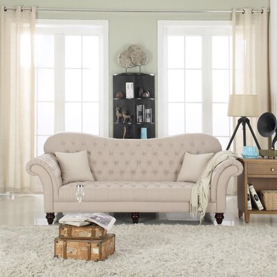 Classic Tufted Victorian Sofa Upholstery: Beige/Linen