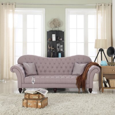 Classic Tufted Victorian Sofa Upholstery: Light Gray/Linen