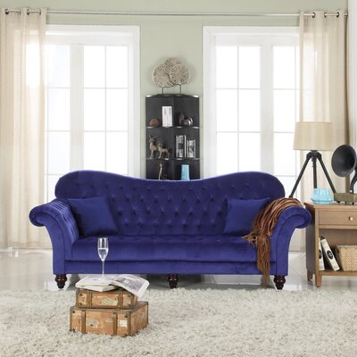 Classic Tufted Victorian Sofa Upholstery Color/Type: Blue/Velvet