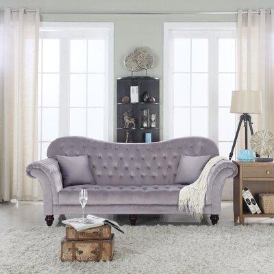 Classic Tufted Victorian Sofa Upholstery: Dark Gray/Velvet