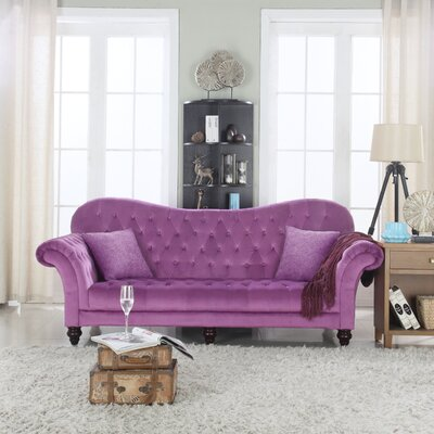 Classic Tufted Victorian Sofa Upholstery Color/Type: Purple/Velvet