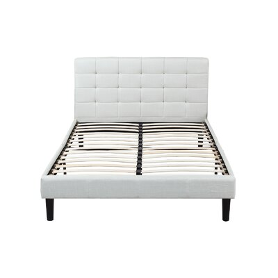 Classic Deluxe Linen Low Profile Platform Bed Frame with Tufted Headboard Design Size: Queen, Color: Beige