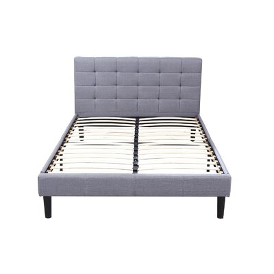 Classic Deluxe Linen Low Profile Platform Bed Frame with Tufted Headboard Design Size: Queen, Color: Gray