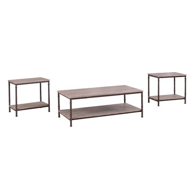 3 Piece Coffee Table and End Table Set Finish: Rust