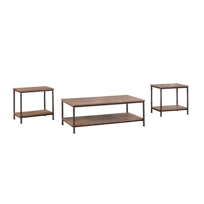 3 Piece Coffee Table and End Table Set Finish: Brown