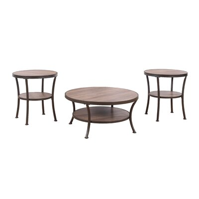3 Piece Coffee Table and End Table Set Color: Brown