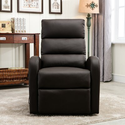 Classic Plush Bonded Leather Power Large Infinite Position Lift Chair Upholstery: Brown