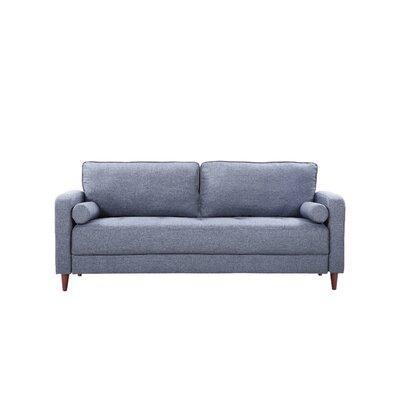 Mid-Century Modern Linen Fabric Living Room Sofa Upholstery: Dark Blue