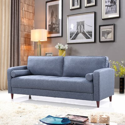 Mid-Century Modern Linen Fabric Living Room Sofa Upholstery: Dark Blue
