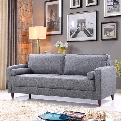Mid-Century Modern Linen Fabric Living Room Sofa Upholstery: Light Gray