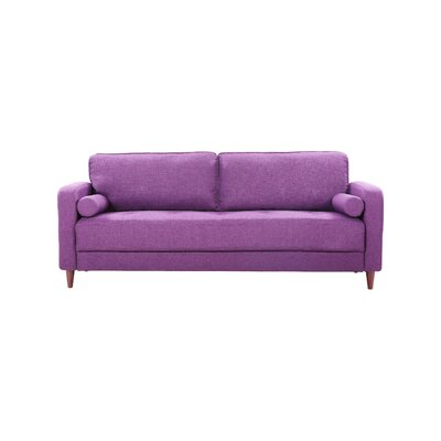 Mid-Century Modern Linen Fabric Living Room Sofa Upholstery: Purple
