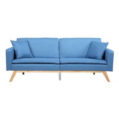 Modern Tufted Linen Splitback Recliner Sofa Upholstery: Blue