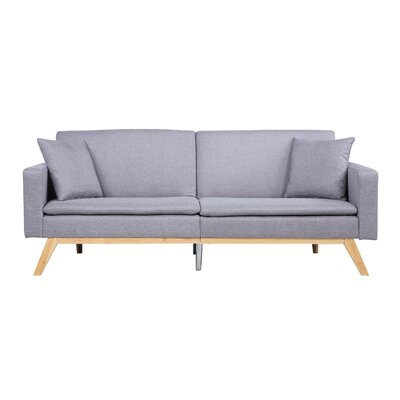 Modern Tufted Linen Splitback Recliner Sofa Upholstery: Light Gray
