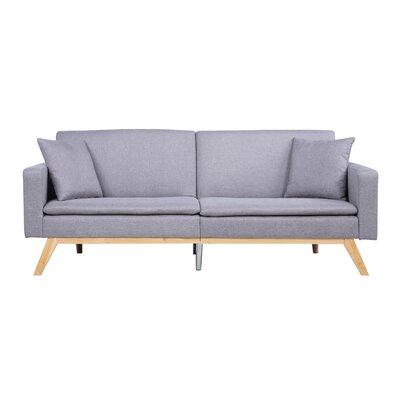 Modern Tufted Linen Splitback Recliner Sofa Upholstery: Light Gray