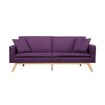 Modern Tufted Linen Splitback Recliner Sofa Upholstery: Purple