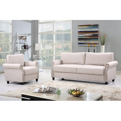 2 Piece Living Room Set with Storage Upholstery: Beige