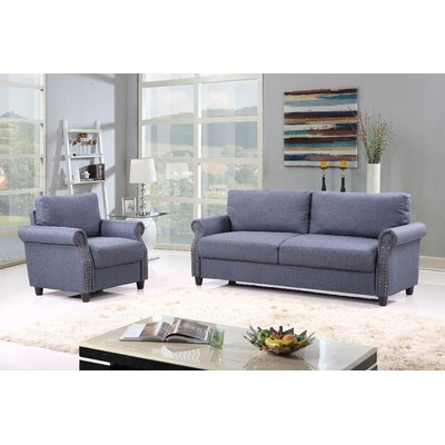 2 Piece Living Room Set with Storage Upholstery: Blue