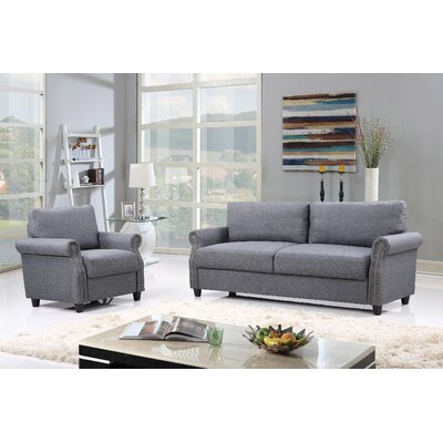 2 Piece Living Room Set with Storage Upholstery: Gray