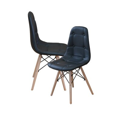 Modern Tufted Wood Legs Side Chair Upholstery: Black