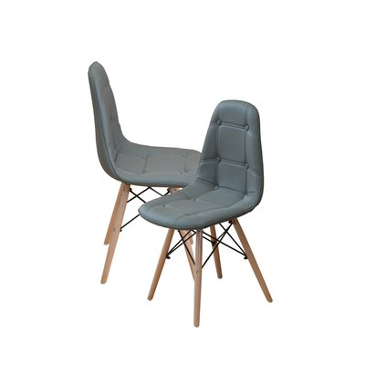 Modern Tufted Wood Legs Side Chair Upholstery: Gray