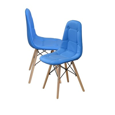 Modern Tufted Wood Legs Side Chair Upholstery: Sky Blue