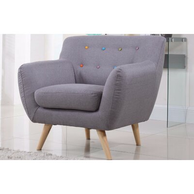 Mid-Century Modern Tufted Arm Chair Upholstery: Light Grey with Color Buttons