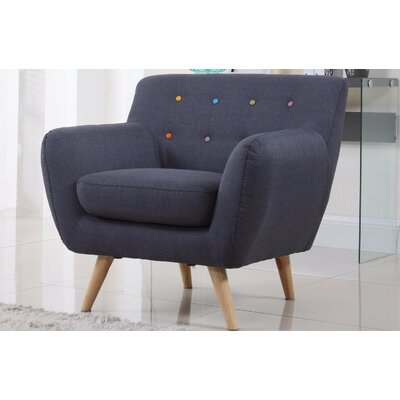 Mid-Century Modern Tufted Arm Chair Upholstery: Polo Blue with Color Buttons