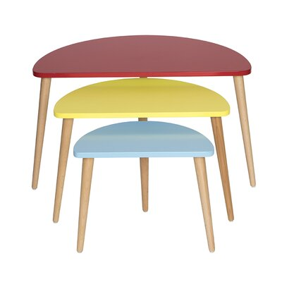 Mid Century Modern 3 Piece Nesting Tables Color: Red/Yellow/Blue