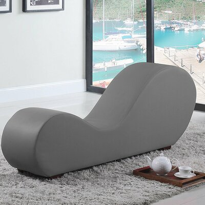 Premium Bonded Leather Stretch Chaise Lounge Upholstery: Gray