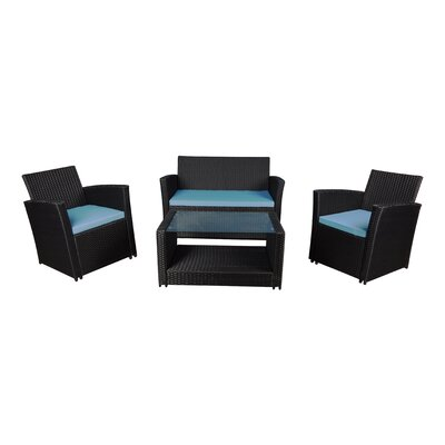 Modern Outdoor Wicker 4 Piece Deep Seating Group with Cushions Frame Finish: Black, Fabric: Ivory