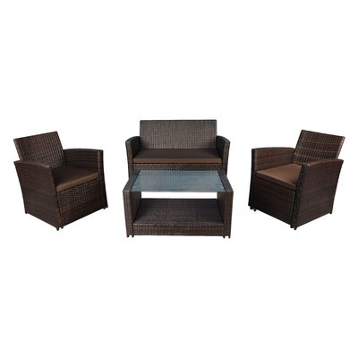 Modern Outdoor Wicker 4 Piece Deep Seating Group with Cushions Frame Finish: Brown, Fabric: Brown