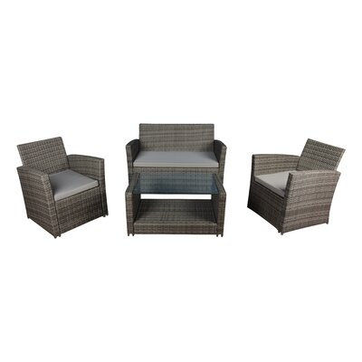 Modern Outdoor Wicker 4 Piece Deep Seating Group with Cushions Frame Finish: Gray, Fabric: Gray