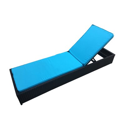 Modern Rattan Outdoor Lounge Chaise with Cushion Finish: Black, Fabric: Blue