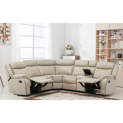 Classic Reclining Sectional Upholstery: Beige