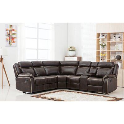 Classic Large Reclining Corner Sectional Upholstery: Brown