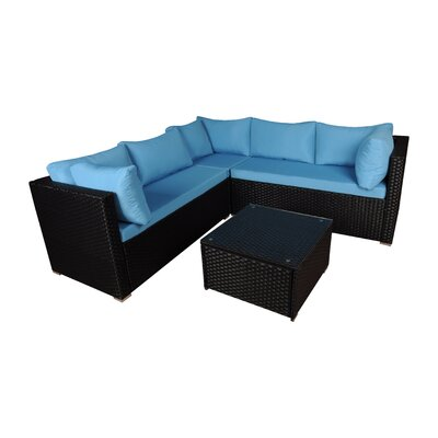 Modern Outdoor Garden 4 Piece Sectional Seating Group Set Frame Finish: Black, Fabric: Blue