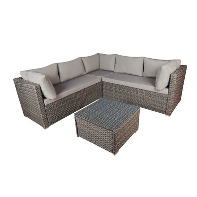 Modern Outdoor Garden 4 Piece Sectional Seating Group Set Frame Finish: Gray, Fabric: Gray