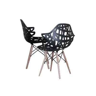 Modern Hollow-Out Style Side Chair Finish: Black