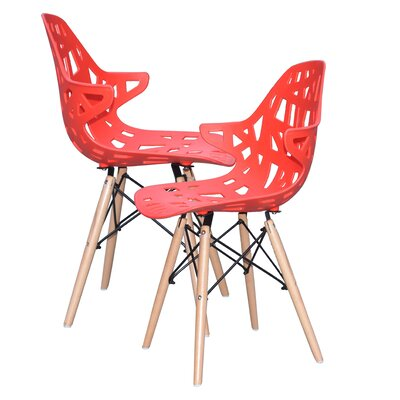 Modern Hollow-Out Style Side Chair Finish: Red