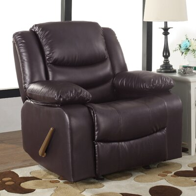 Classic Overstuffed Manual Rocker Recliner Color: Brown